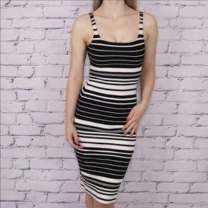 American Apparel striped bodycon midi dress c1